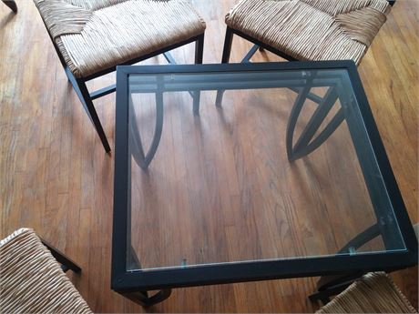 Two glass side table and four metal chaors
