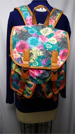Rucksack Canvas Print Black w/Colored Floral